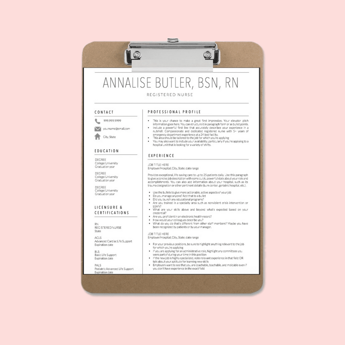 NEW GRAD STUDENT Resume Template Annalise