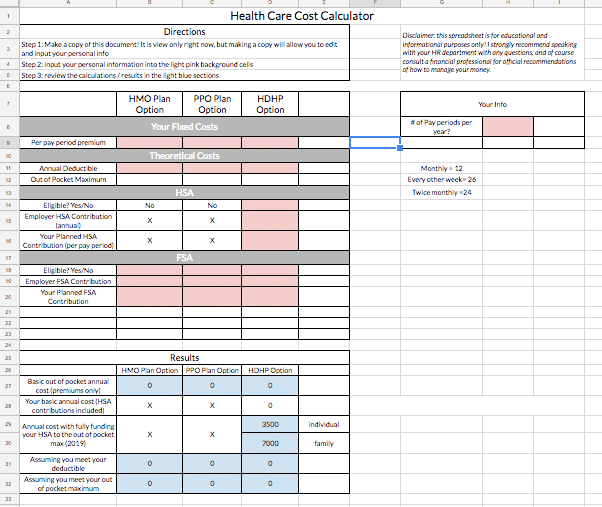 Preview of Nurse Benefits Health Care Cost Calculator Spreadsheet